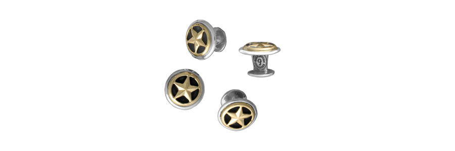 Closed Star Shirt Studs, Sterling with 14k Overlay (Set of 4)