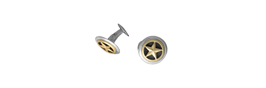 Closed Back Sterling Silver Cufflinks with 14k Overlay (1 Pair)