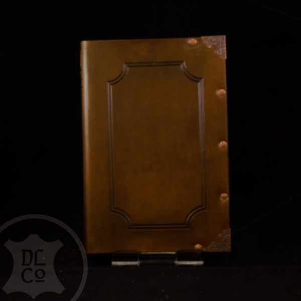 Golden Brown Antiqued Leather Covered Book
