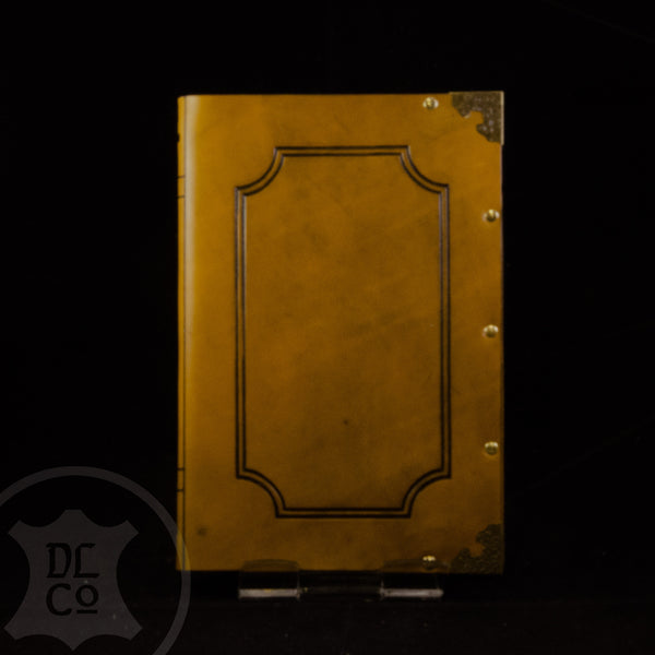 Yellow - Antiqued Leather Covered Book
