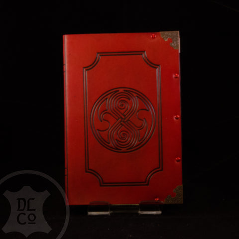 Gallifreyan Red Antiqued Leather Covered Book