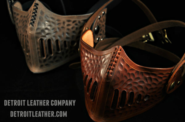 Hammered Leather Lower Face Masks