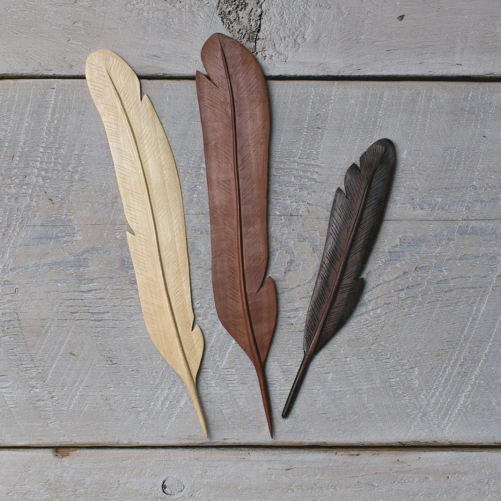 Natural Wood Feather 3 Mixed