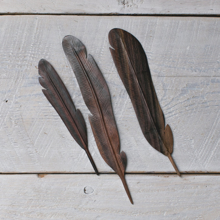 Natural Wood Feather Dark 3pc