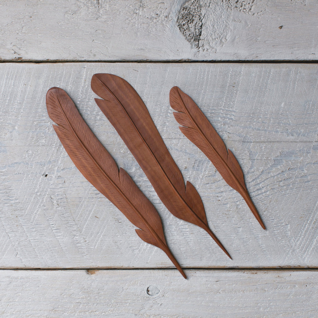 Natural Wood Feather  Red 3pc