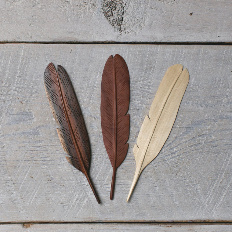 Natural Wood Feather  small 3pc