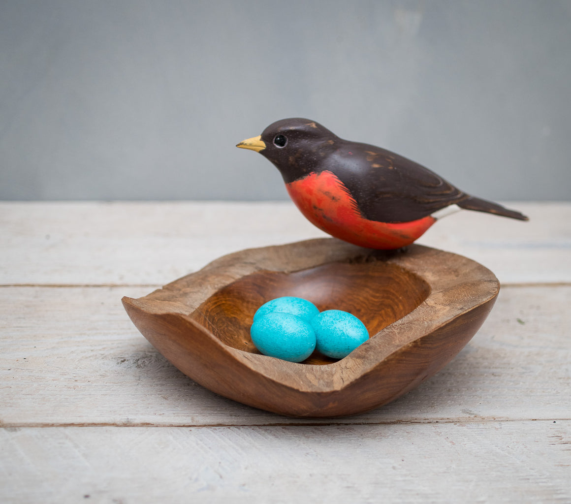 Robin on Nest Bowl with Eggs