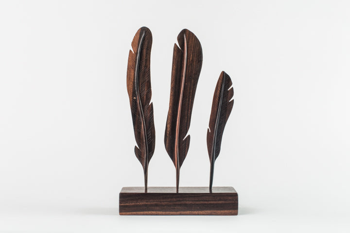 Polished Hard Wood Feather Stand