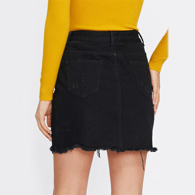 Anahi Ripped Denim Skirt