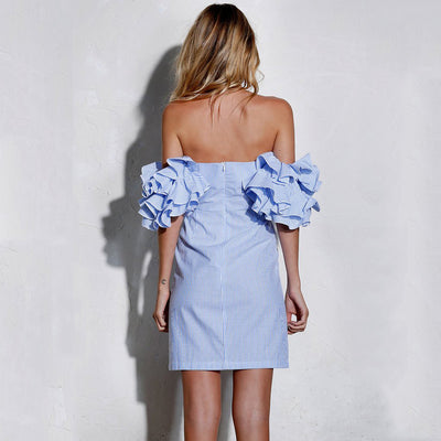 Enid Strapless Ruffles Dress