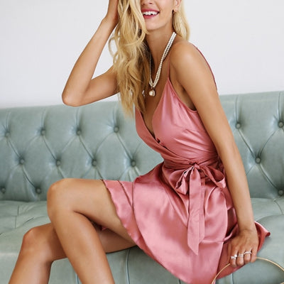 Biel Satin Ruffles Dress