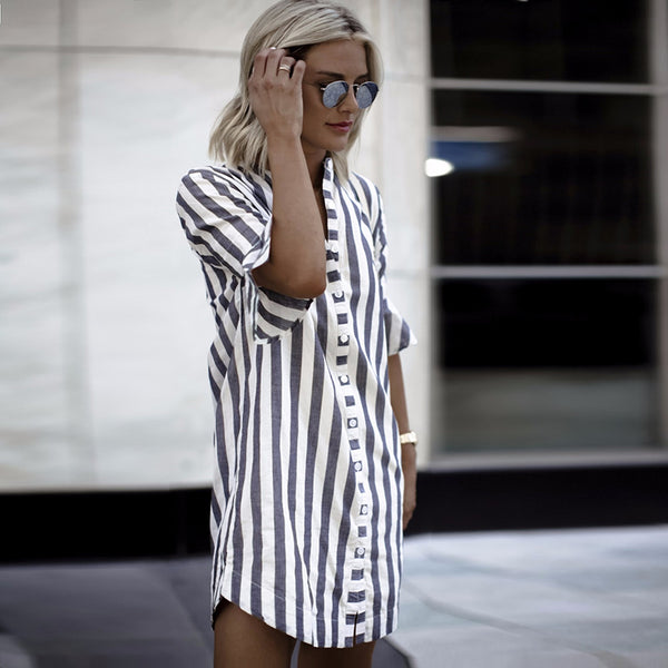 Kaya Striped Shirt Dress