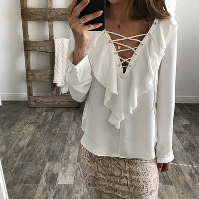 Aretha Lace Up Blouse