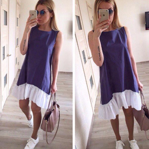 Two-Tone Ruffles Dress