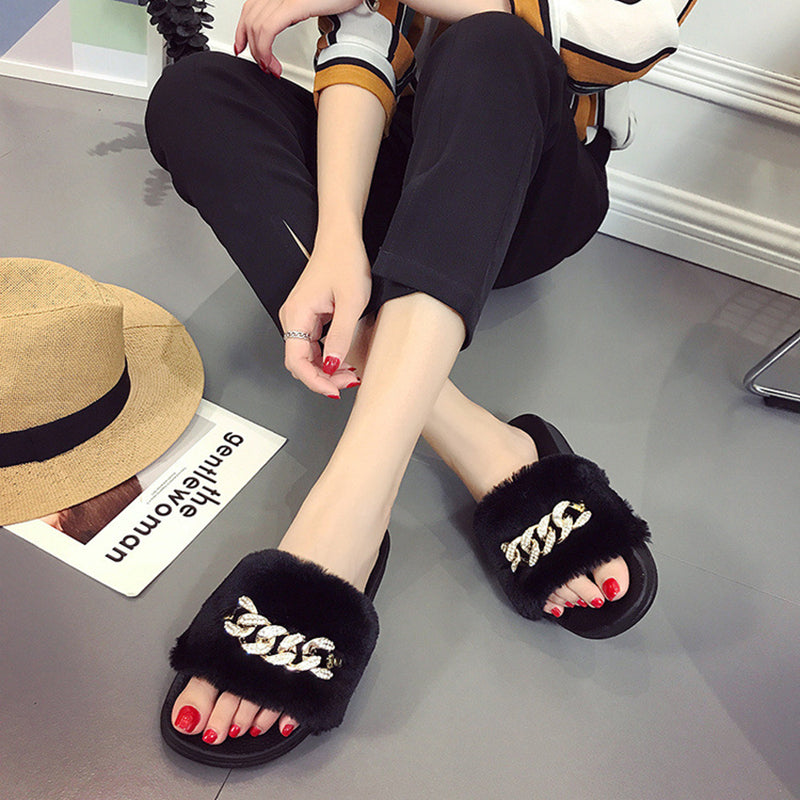 Furry Slide Sandals