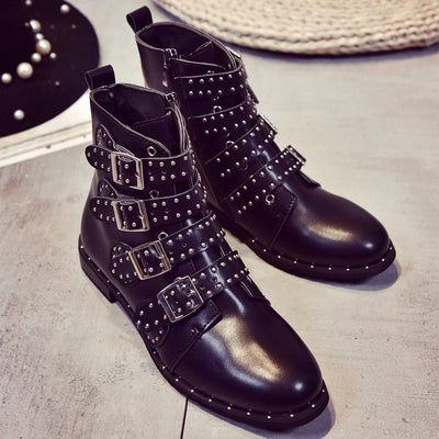 Studded Buckle Booties