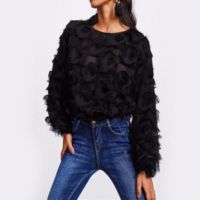 Black Flower Mesh Blouse