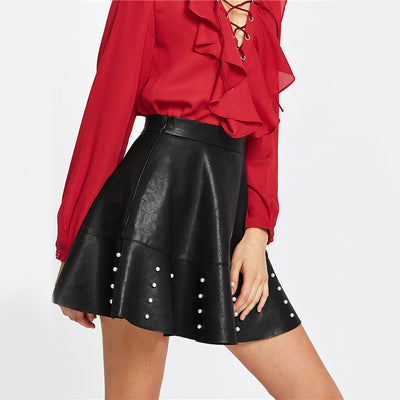 Leather Pearls Skirt