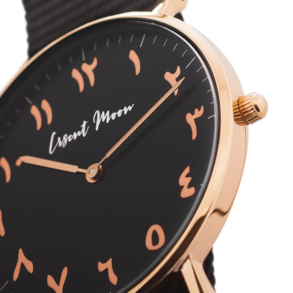 Arabic Numerals Watch with Black Nato Strap and Rose Gold Case by Crscnt Moon