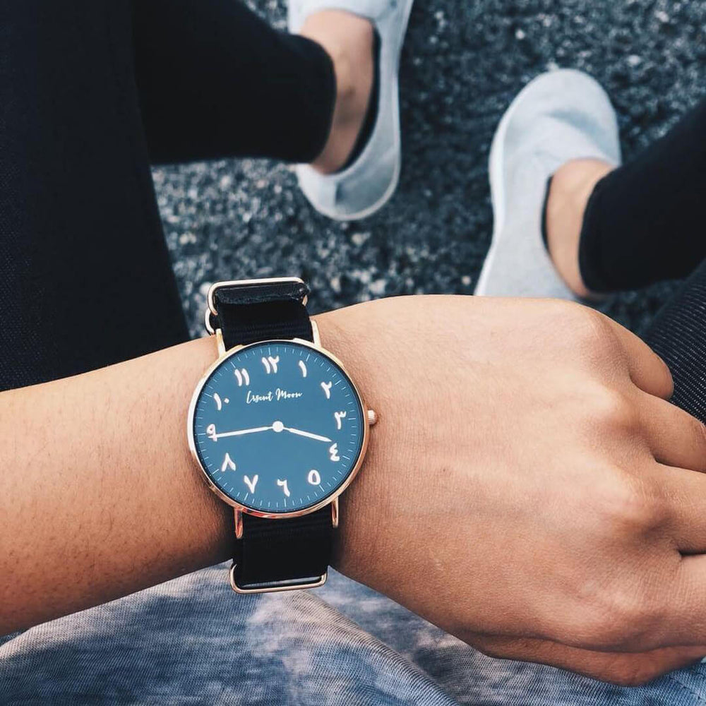 Women Wearing Arabic Numerals Watch with Black Nato Strap and Rose Gold Case by Crscnt Moon