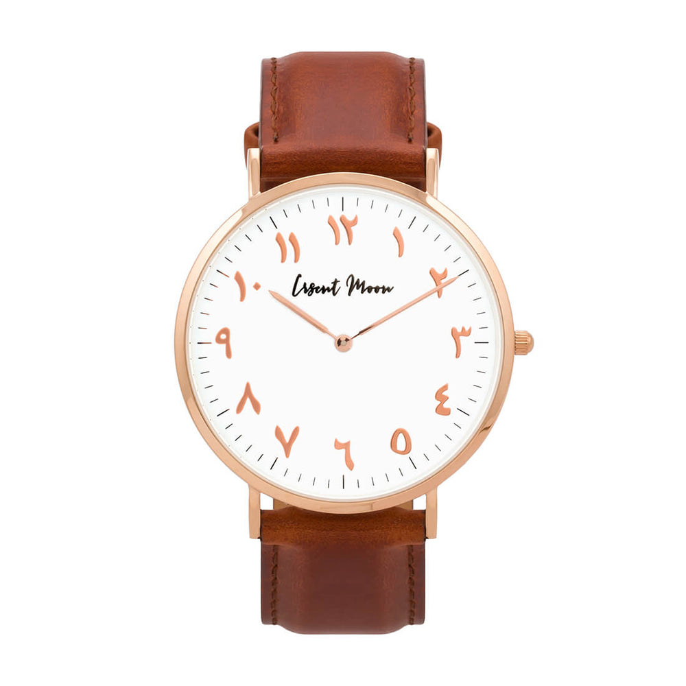 Arabic Numerals Watch with Brown Leather Strap and Rose Gold Case by Crscnt Moon