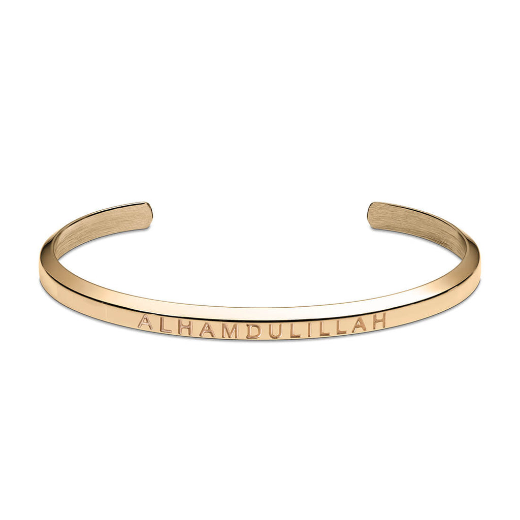 Alhamdulillah Cuff Bracelet in Gold by Crscnt Moon