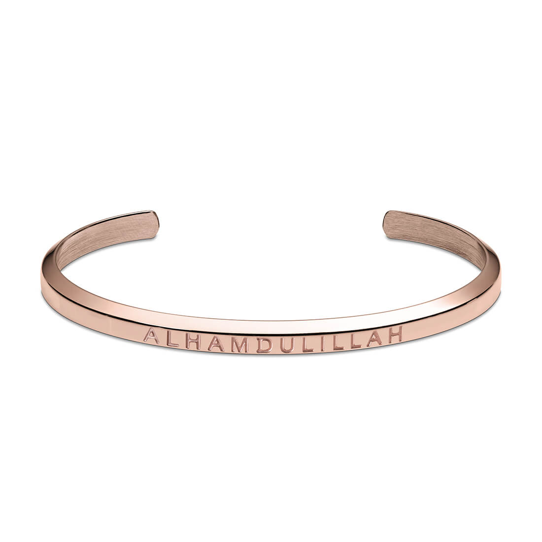 Alhamdulillah Cuff Bracelet in Rose Gold by Crscnt Moon