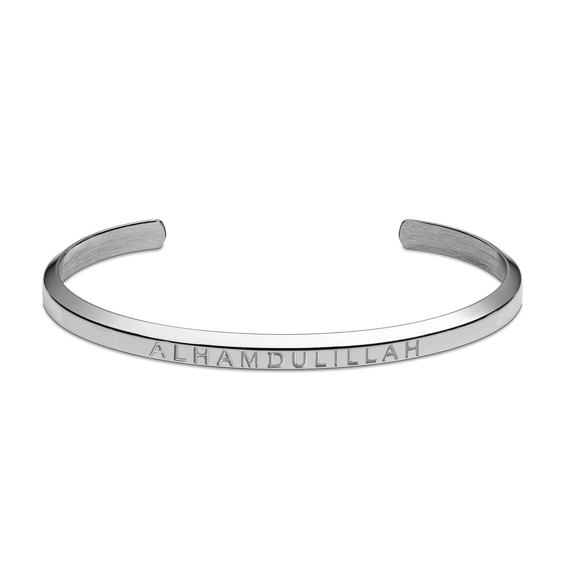 Alhamdulillah Cuff Bracelet in Silver by Crscnt Moon
