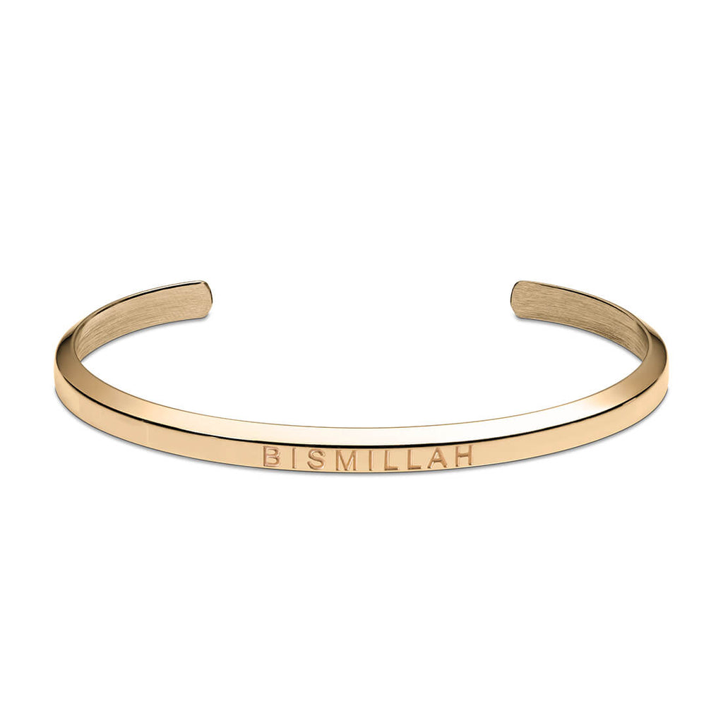 Bismillah Cuff Bracelet in Gold by Crscnt Moon