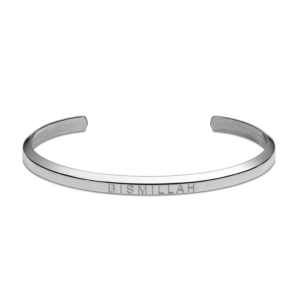 Load image into Gallery viewer, Bismillah Cuff Bracelet in Silver by Crscnt Moon