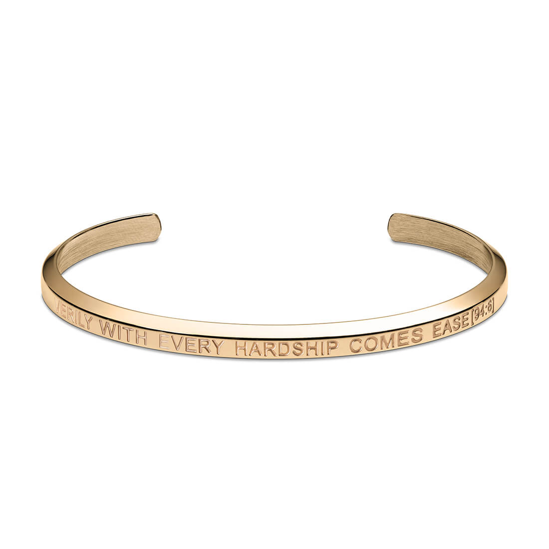 With Every Hardship Comes Ease Cuff Bracelet in Gold by Crscnt Moon