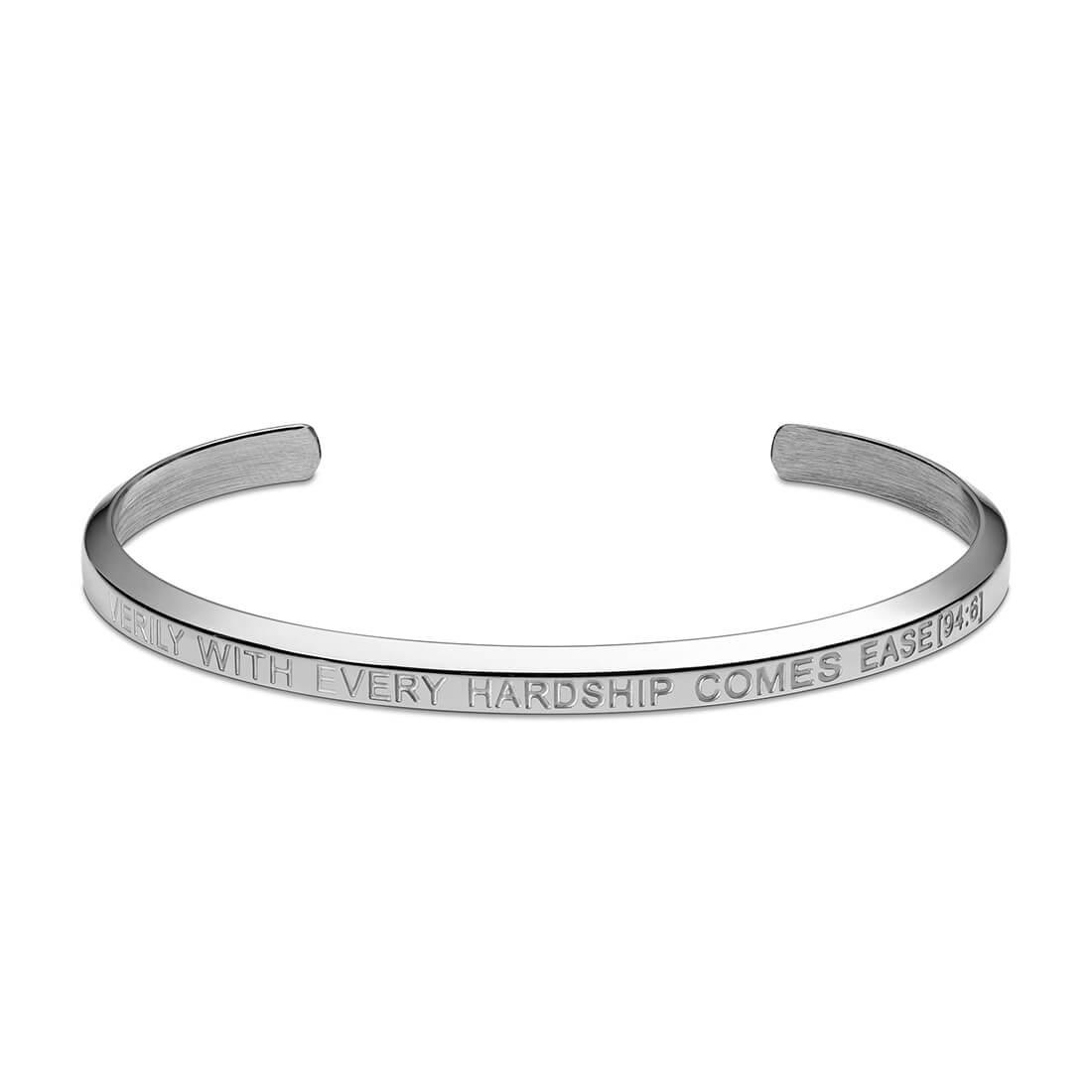 With Every Hardship Comes Ease Cuff Bracelet in Silver by Crscnt Moon