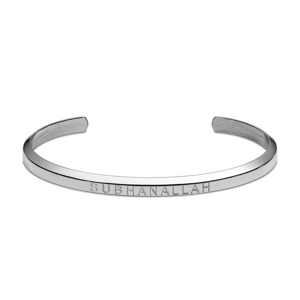 Load image into Gallery viewer, Subhanallah Cuff Bracelet in Silver by Crscnt Moon