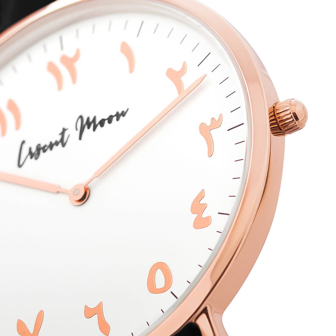 Arabic Numerals Watch with Black Leather Strap and Rose Gold Case by Crscnt Moon