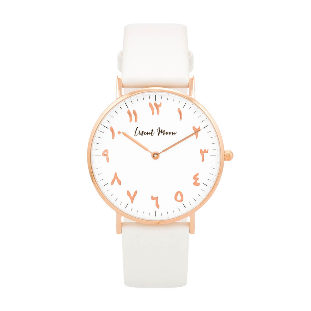 Load image into Gallery viewer, Arabic Numerals Watch with White Leather Strap and Rose Gold Case by Crscnt Moon