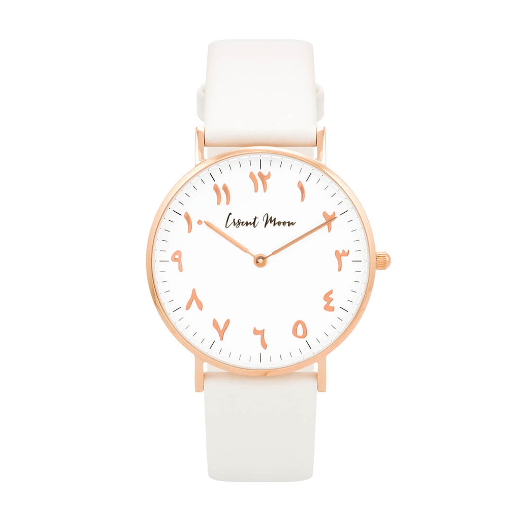 Arabic Numerals Watch with White Leather Strap and Rose Gold Case by Crscnt Moon