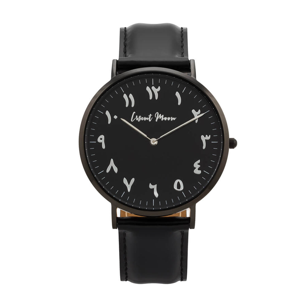 Arabic Numerals Watch with Black Leather Strap and Black Case by Crscnt Moon