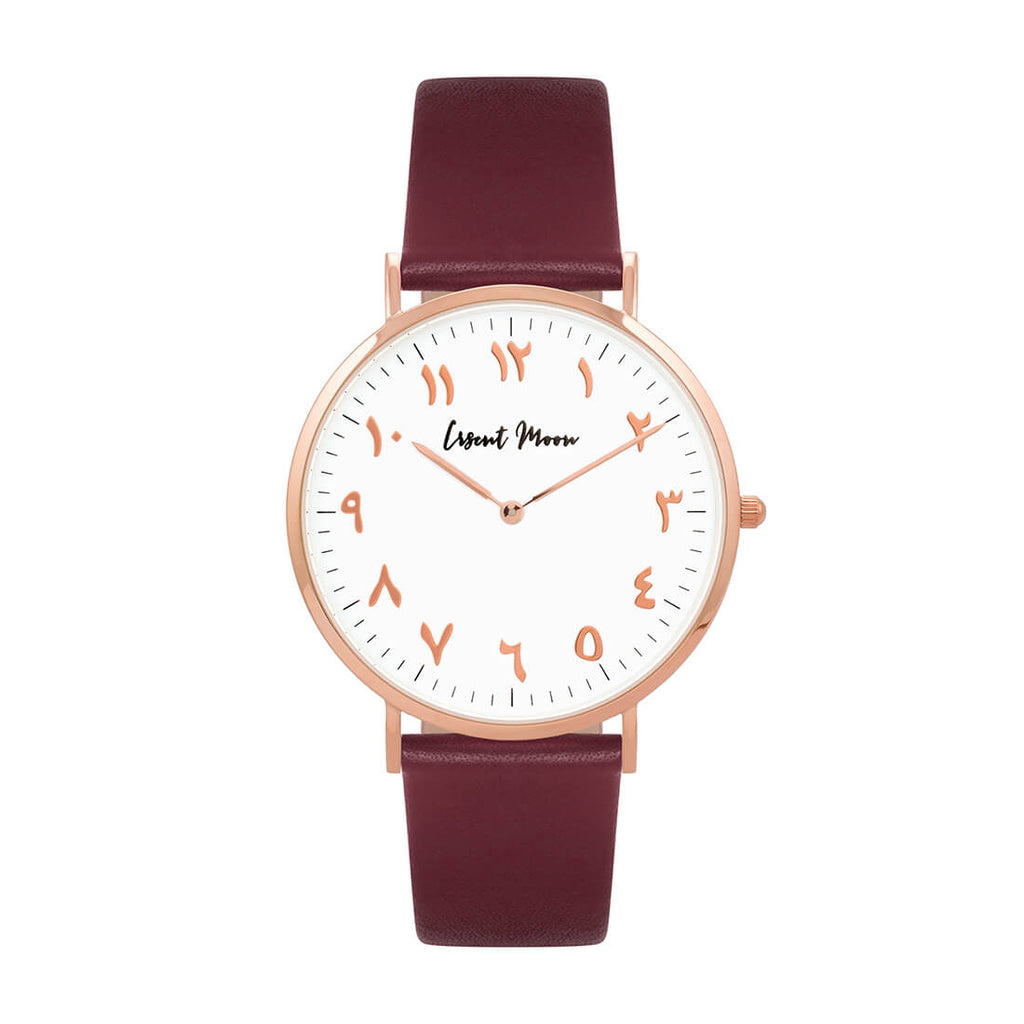Arabic Numerals Watch with Burgundy Leather Strap and Rose Gold Case by Crscnt Moon
