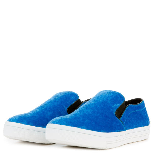 Women's Pony Hair Blue Slip On