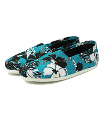 Toms for Women: Classic Blue Black Canvas Printed Tropical
