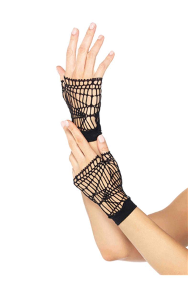 The Distressed Net Fingerless Gloves in Black