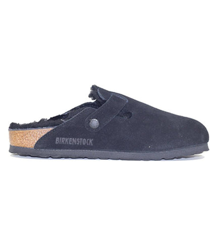 Birkenstock for Women: Boston Fur Suede Black Sandal