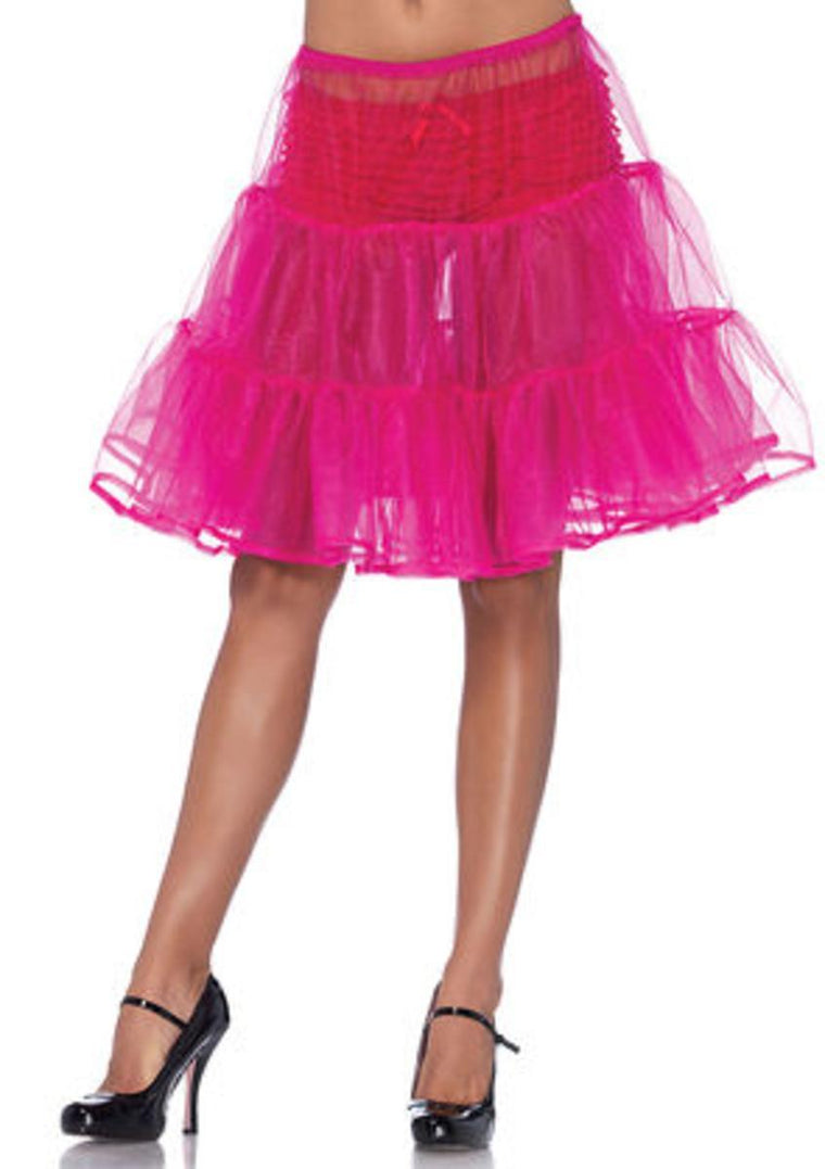 Shimmer organza knee length petticoat skirt in FUCHSIA