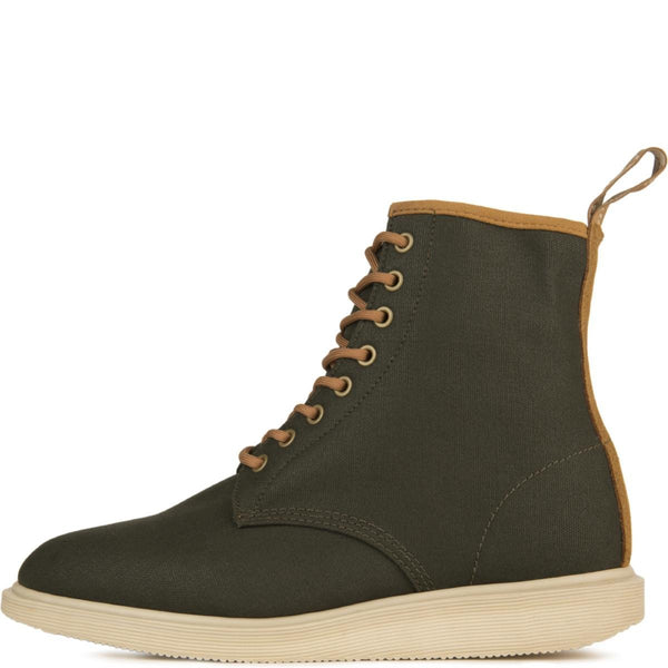 Dr. Martens for Men: Whiton Hi Canvas/Suede Green Boots