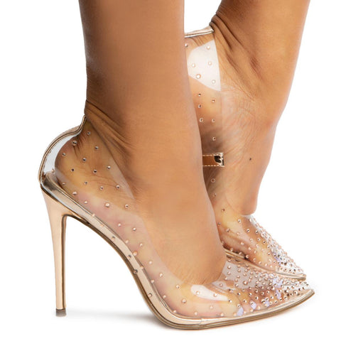 Badass-1 Pointy Toe Clear Pump Heels