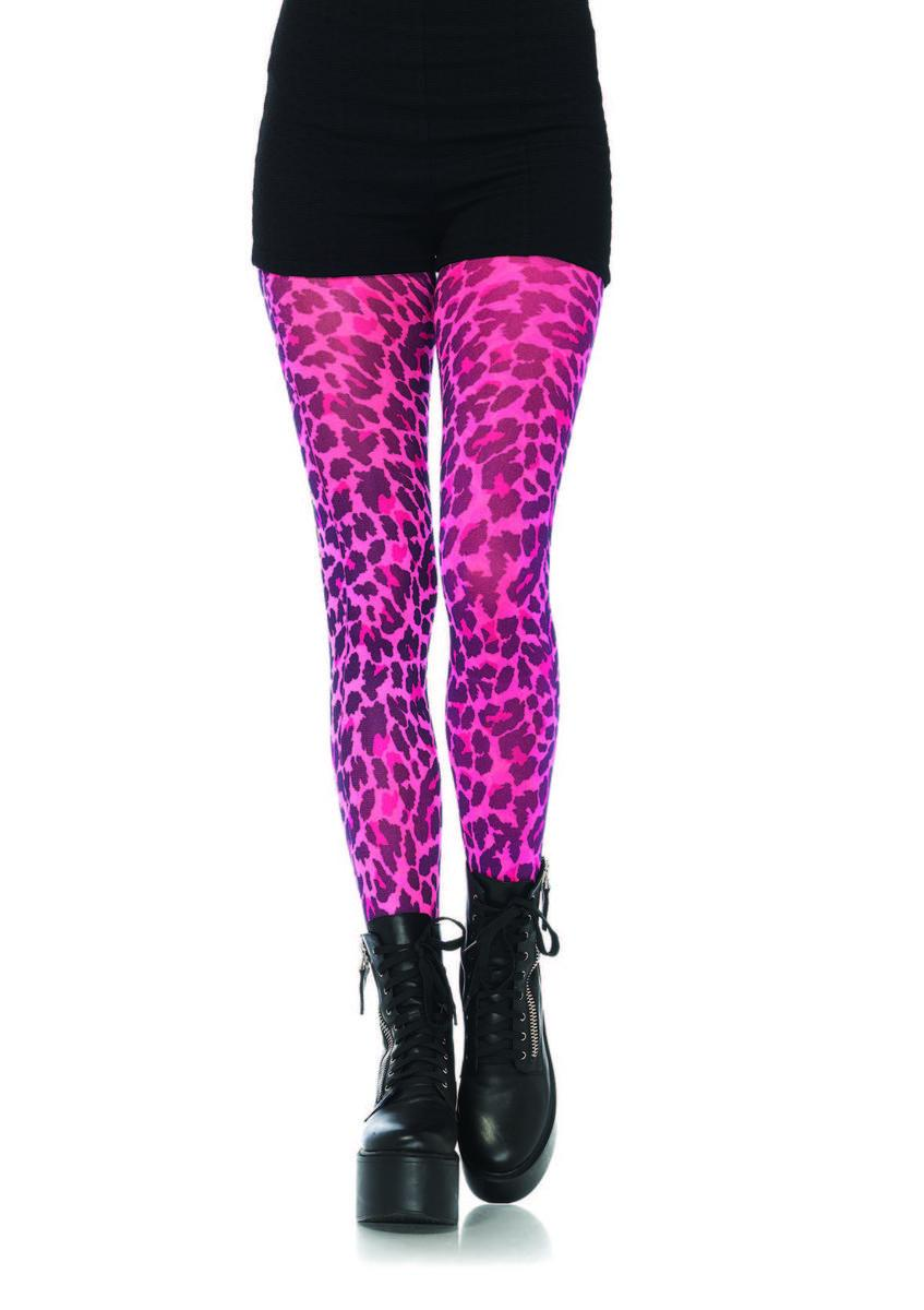 Neon leopard print opaque tights in NEON PINK