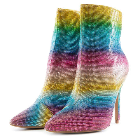 Color Trap High Heel Booties