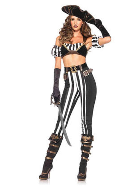 5PC.Black Beauty Pirate,bra top,arm puffs,pants,belt,hat in BLACK/WHITE
