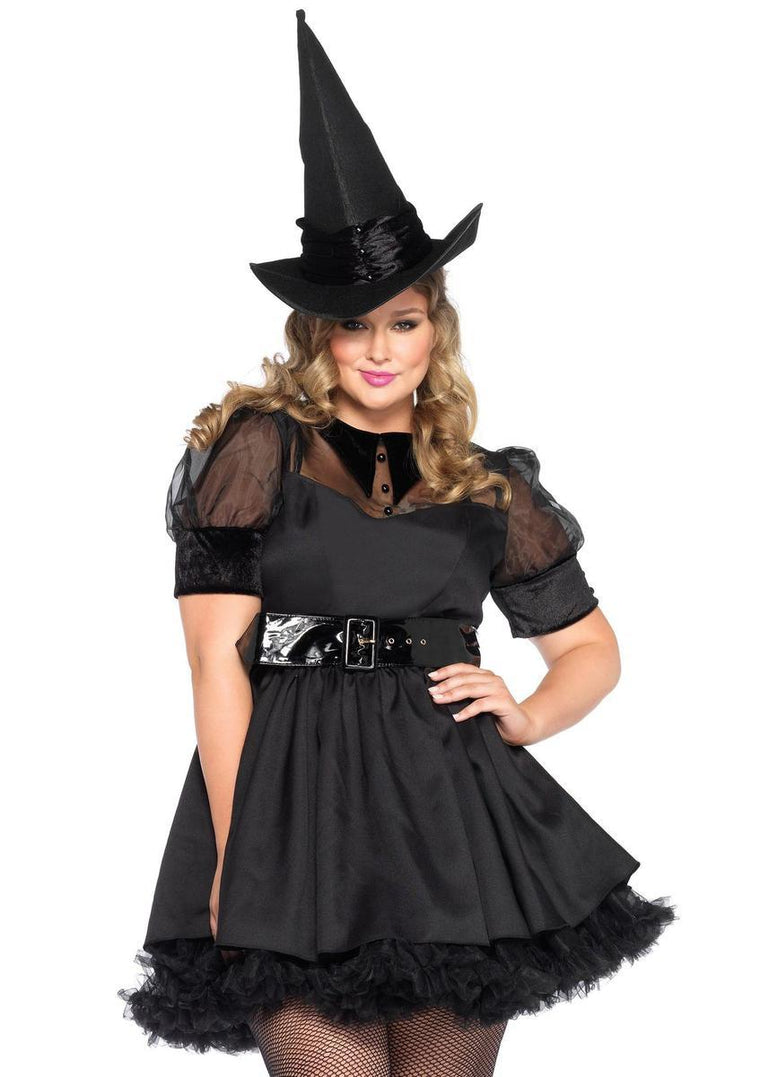 3PC.Bewitching Witch,dress w/organza,belt,hat in BLACK