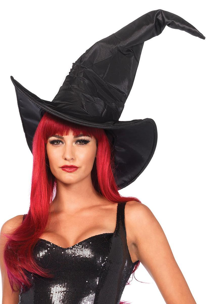 Large ruched witch hat in BLACK